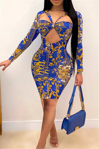 Printed Hollow Out Mini Dress