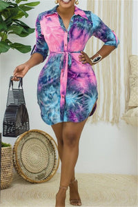 Tie Dye Printed Shirt Dress With Belt