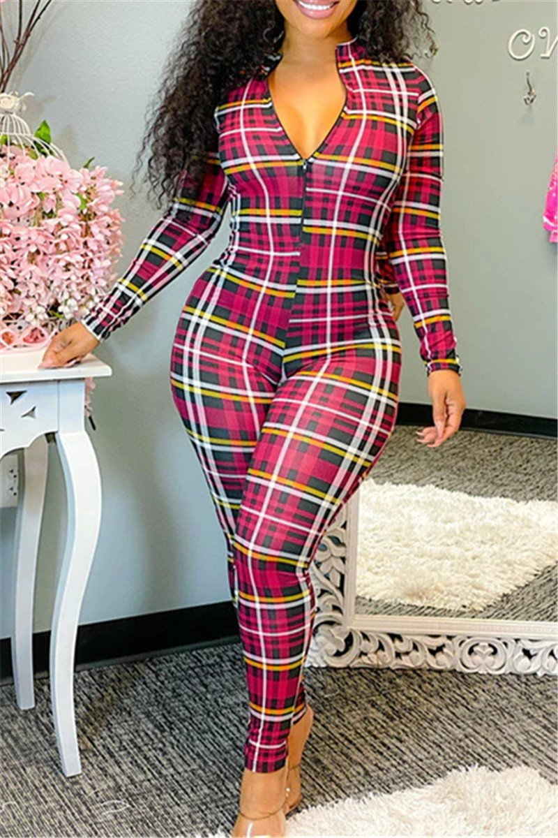 V Neck Lattice Printed Jumpsuit