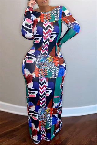 Printed Back Hollow Out Maxi Dress