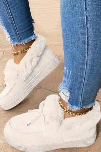 Solid Color Fur Splicing Shoes