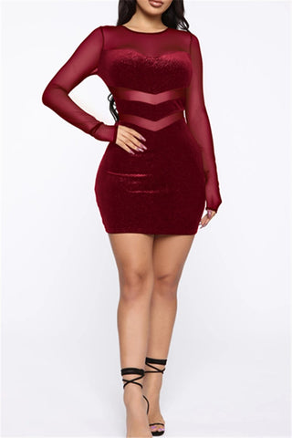 Velvet Net Yarn Splicing Dress