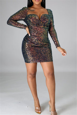 Sequin Splicing Womens Dress