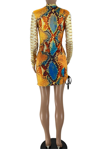 Snakeskin Printed Womens Dress