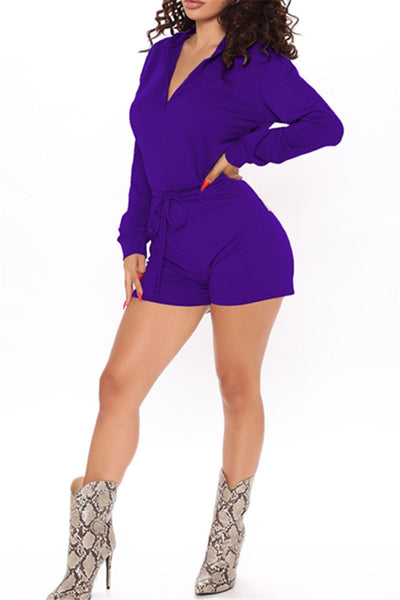 Solid Color Wrap Womens Romper