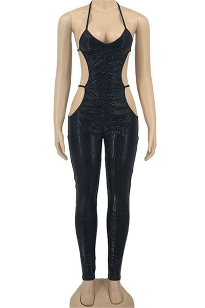 Solid Color Bandage Womens Jumpsuit
