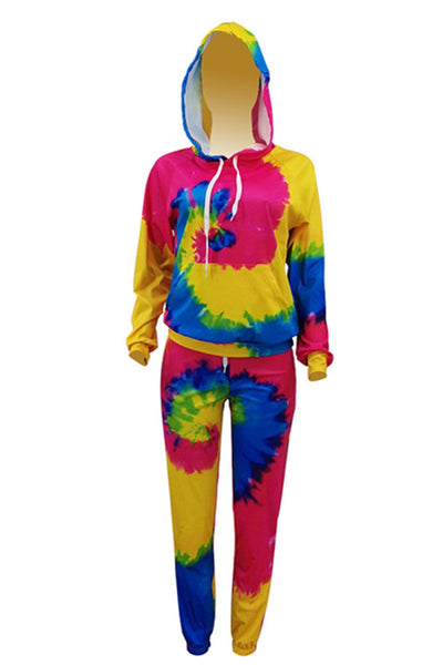 Tie Dye Hooded Womens Workout Sets