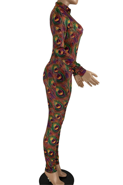 Peacock Printed Womens Jumpsuit