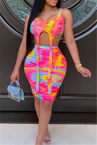 Tie Dye Printed Cami& Skirt Sets