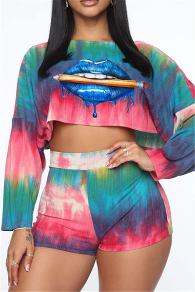 Tie Dye Lip Printed Womens Sets