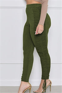 Solid Color Ruched Womens Pants