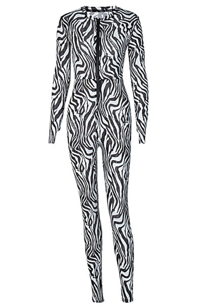 Printed Zipper Womens Jumpsuit