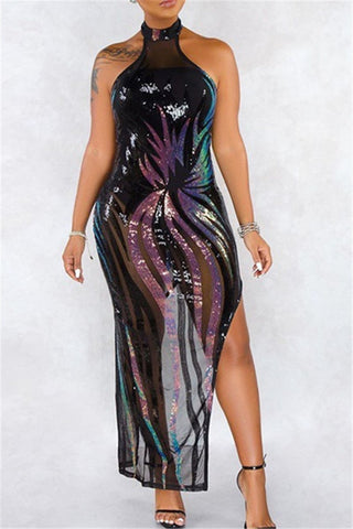 Sequin Splicing Net Yarn Sheer Dress