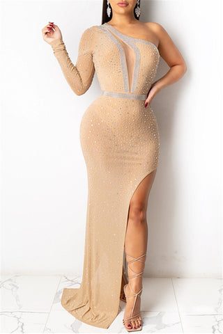 One Sleeve Rhinestone Romper Dress