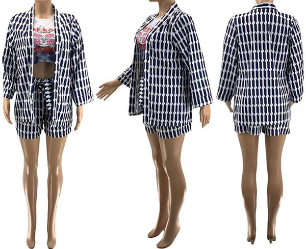 Printed Cardigan& Shorts Womens Sets