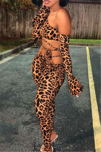 Leopard Printed Bandage Womens Sets