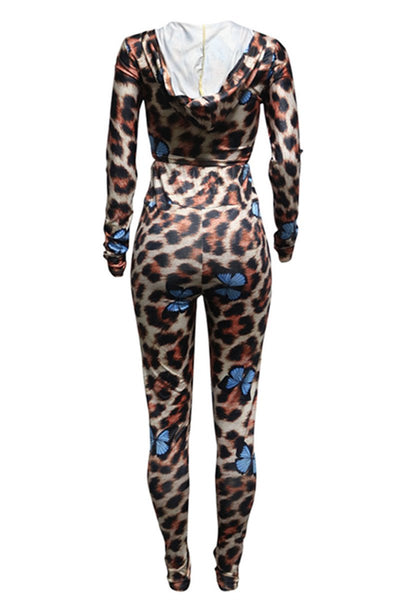 Leopard Printed Hooded Womens Clothing