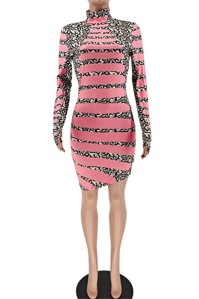 Irregular Hem Printed Womens Dress