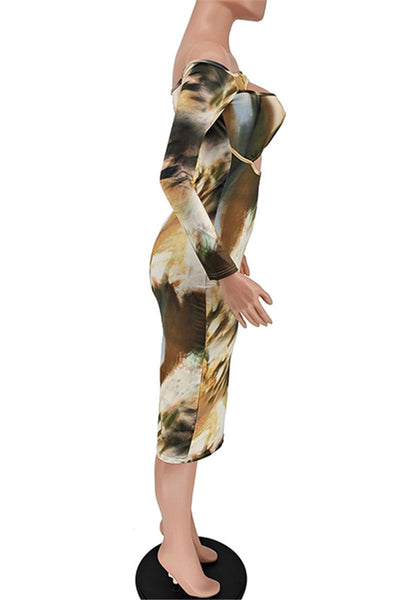 Hollow Out Printed Womens Midi Dress