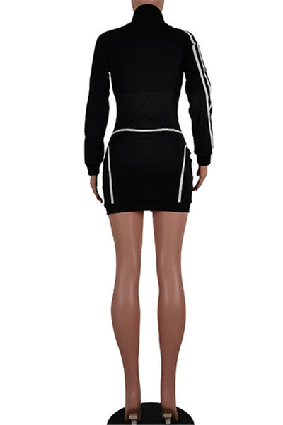 Color Splicing Zipper Womens Dress