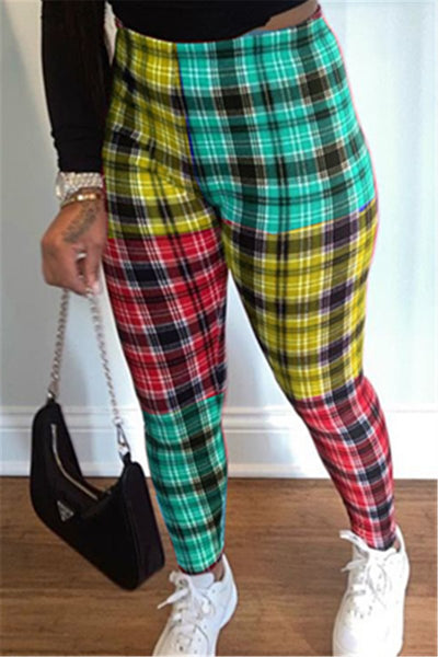 Color Splicing Lattice Printed Pants