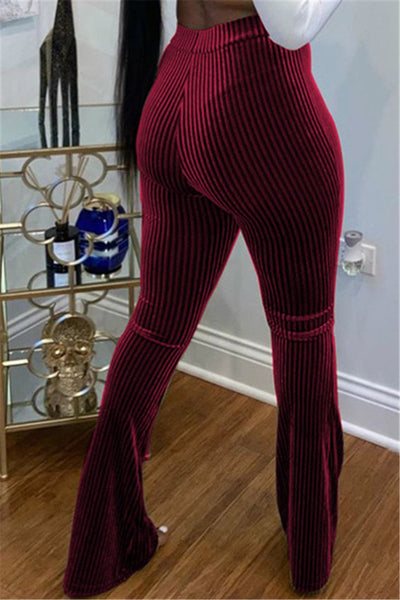 Solid Color High Waist Womens Pants