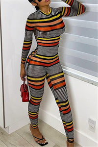 Stripe Printed Bandage Womens Jumpsuit