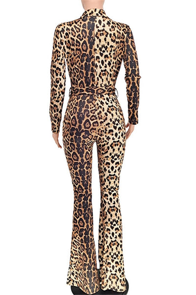 V Neck Leopard Printed Womens Jumpsuit