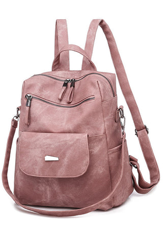 Solid Color Leather Zipper Backpack
