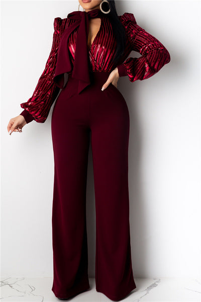 Shining V Neck Jumpsuit With Tie