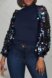 Sequin Splicing Sleeve Top