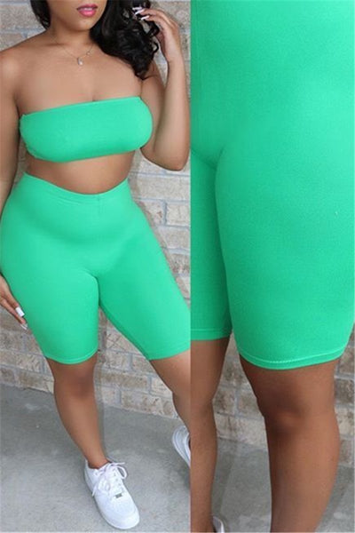 Solid Color Tube& Shorts Sets