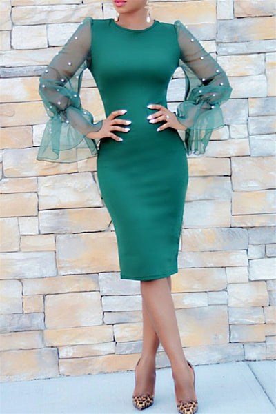 Pearl Net Yarn Sleeve Midi Dress