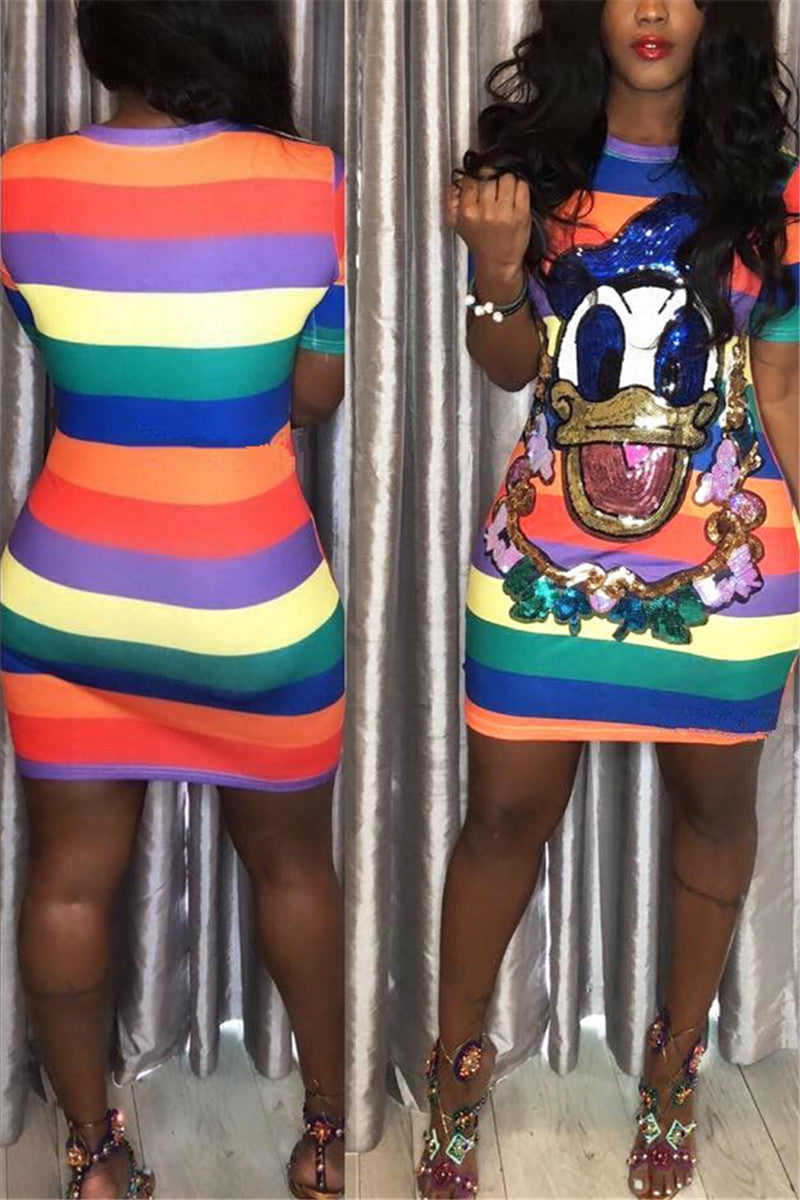 Plus Size Cartoon Sequins Splicing Dress