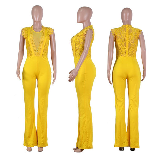 Lace Net Yarn Splicing Jumpsuit