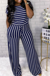 Striped Drawstring Waist Casual Jumpsuit