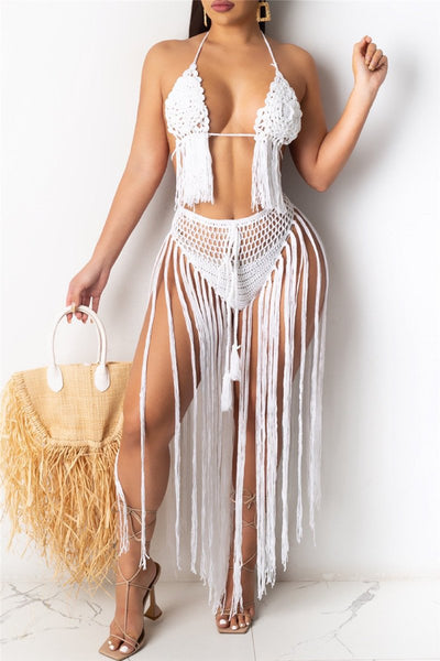 Solid Color Knitted Crochet Long Tassel Bikini Sets