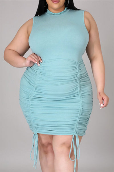 Plus Size L-4XL Ruched Bandage Hem Mini Dress