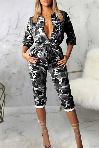 Camouflage Print Demin Material Jumpsuit