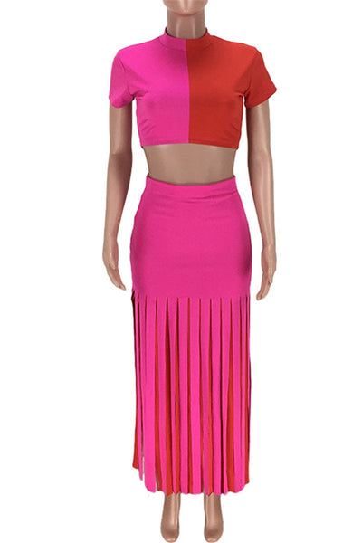 Color Splicing Crop Top with Tassel Skirts Sets