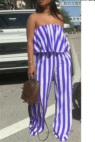Striped Flounce Strapless Top with Wide Leg Pants Sets