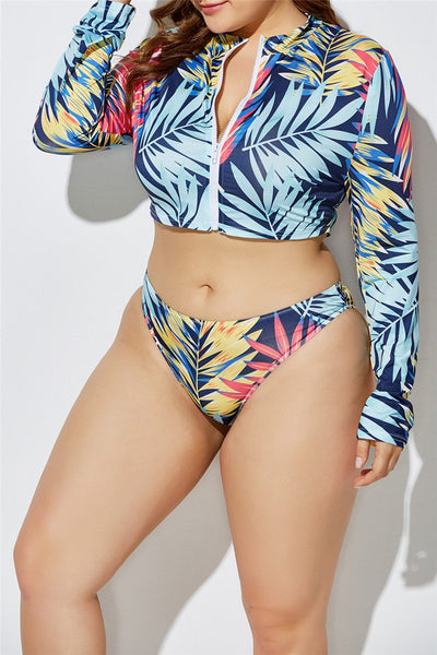 Plus Size 2XL-5XL Color Printed Zipper Bikini Swimwear Sets with Scarf