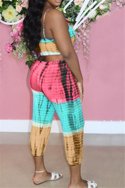 Tie Dye Bandage Cami Top and Pants Sets