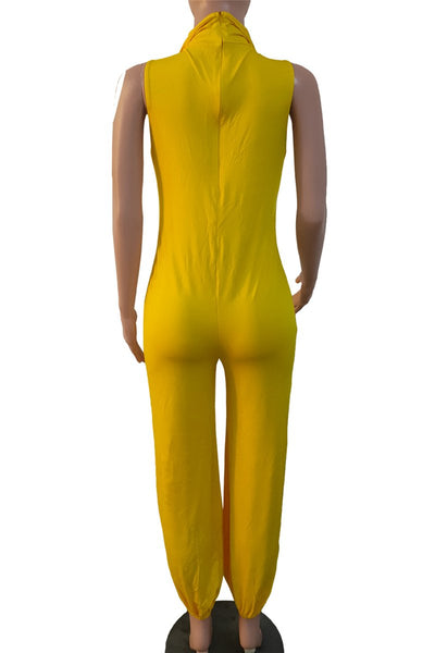 Casual Solid Color Sleeveless Jumpsuit with Mask