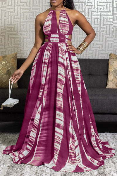 Causal Printed Bandage Waist Maxi Dress