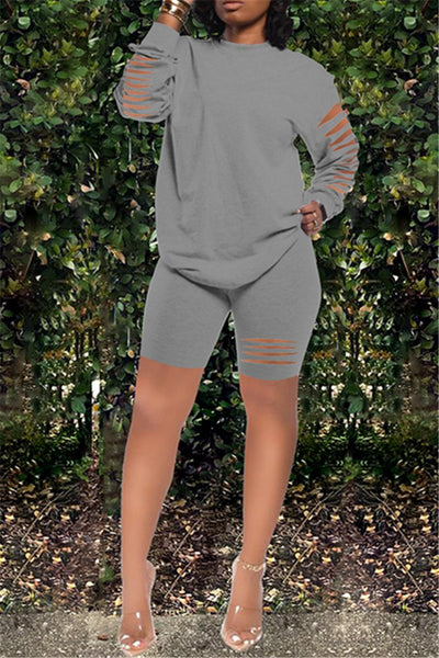 Distressed Long Sleeve Top with Short Pants Sets