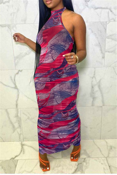 Net Yarn Printed Drawstring Maxi Dress