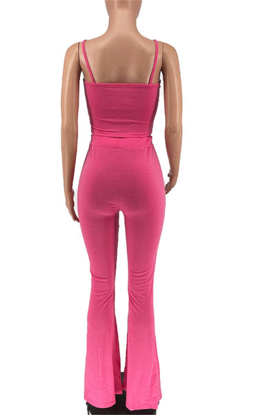 Solid Color Cami Crop Top with Flared Pants Sets