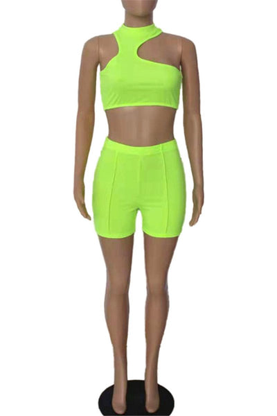 Irregular Neck Crop Top with Ruched Shorts Sets