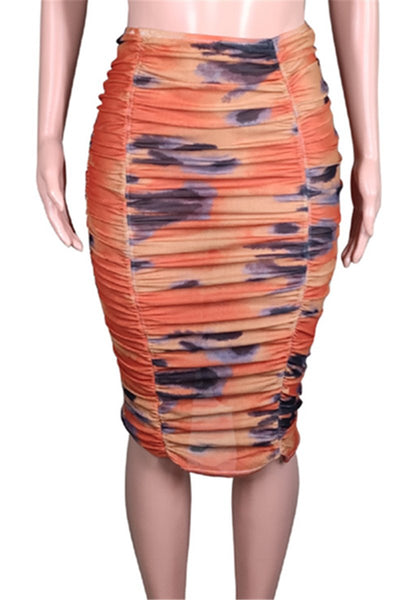 Net Yarn Printed Ruched Skirt